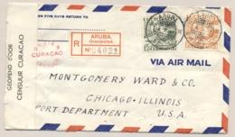 Curacao - 1941 - 40 Cent & 45 Cent Luchtpost Op Censored R-cover Van KB Aruba/Oranjestad Naar Chicago / USA - Curacao, Netherlands Antilles, Aruba