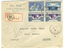 Arts Décoratifs Les Deux 75 C + 2 X 25 C. Sur RECOMMANDÉE Vers La Suisse 1925 Dentelures Impeccables - Frankreich
