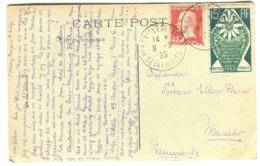 Arts Décoratifs 15 C. + Pasteur 45 C. Sur Cpa Vers Le Danemark 1925 Dentelures Impeccables - Storia Postale