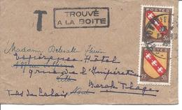 Blason De Lorraine 50c (2 Ex) Sur Bande Journal ALFORTVILLE 17 10 1946 Marques T Et TOUVE A LA BOITE Arrivée LILLE 18 10 - France