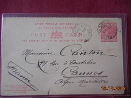 Entier Postal De Ste Lucie De 1898 Pour La France - St.Lucia (...-1978)