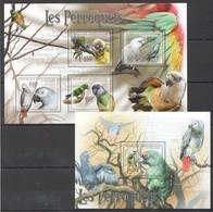 Y248 2011 CENTRAL AFRICA CENTRAFRICAINE FAUNA LES PERROQUETS PARROTS 1KB+1BL MNH - Parrots