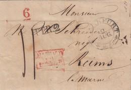 LETTRE ALLEMAGNE -FRANKFURT 2.8.1832 POUR REIMS - TAXE PLUME 11 - ENTREE ROUGE ALLEMAGNE PAR FORBACH- TTR2 6  / R176 - Marcophilie (Lettres)