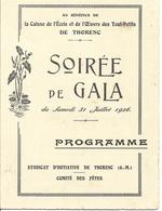 06 THORENC - CAISSE Des ECOLES - SYNDICAT D'INITIATIVE - Programme Du 31 Juillet 1926 - Concert - Musique - A Voir ! - Programmi