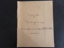 """Acte Notarié Du 9 Juin 1876 """" Partage Des Immeubles """" à Chateauneuf-sur-Loire - Vieux Papiers"""