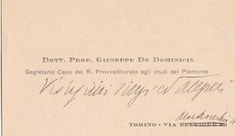 8068. Biglietto Da Visita Dott. Prof. Segretario Capo Del Regio Provveditorato Agli Studi Del Piemonte - Vieux Papiers