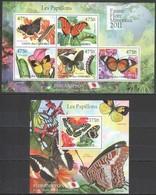Y254 2011 UNION DES COMORES LES PAPILLONS BUTTERFLIES 1KB+1BL MNH - Butterflies