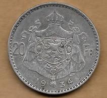 20 Francs 1934 -FL Pos A - 11. 20 Francs & 4 Belgas