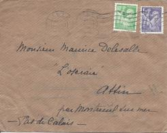80c Vert-jaune N°649 + 1.20F Violet N°651 Lettre LILLE Mars 1945 Flamme Muette Frappée 2 Fois - 1939-44 Iris