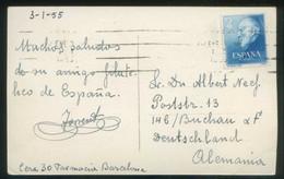 TP Circulada A Austria En 1955. Rodillo Ilegible Sobre Edifil Nº 1119. - 1931-Hoy: 2ª República - ... Juan Carlos I