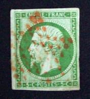 Francia, Sello Napoleón III Yv. 12 5c Verde Año 1853/60 Usado Con Excelente Matasello Estrella Roja L1760 - 1853-1860 Napoleon III
