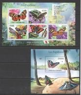 Y263 2011 UNION DES COMORES FAUNE FLORE PAPILLONS BUTTERFLIES 1KB+1BL MNH - Butterflies