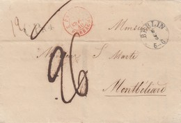 LETTRE ALLEMAGNE - Dr SEILLER BERLIN 5.3.1840. MONTBELIARD -TAXE PLUME 26 - ENTREE PRUSSE 2 FORBACH-MOIS A L'ENVERS/R182 - Postmark Collection (Covers)