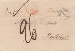 LETTRE ALLEMAGNE - Dr SEILLER BERLIN 5.3.1840. MONTBELIARD -TAXE PLUME 26 - ENTREE PRUSSE 2 FORBACH-MOIS A L'ENVERS/R182 - Marcophilie (Lettres)