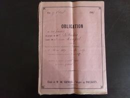 """Acte Notarié Du 17 Avril 1867 """" Obligation """" Notaire Verneuil Au Pouliguen - Vieux Papiers"""