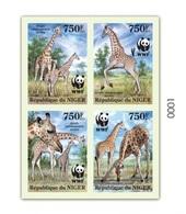 Niger 2013, WWF Giraffes, 4val In BF IMPERF. - Niger (1960-...)