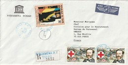 LETTRE - TCHAD Le 31.10.1987 Pour Paris (avec Timbre Croix Rouge) - Chad (1960-...)