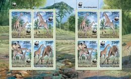 Niger 2013, WWF Giraffes, 4valx2 In Sheetlet - Niger (1960-...)