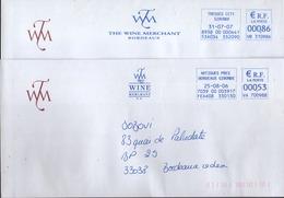 """EMA Bleu Artigues Près Bordeaux Et TressesCCT1 """" The Wine Merchant - Storia Postale"""