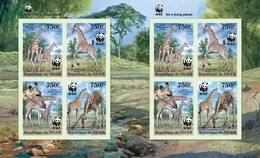 Niger 2013, WWF Giraffes, 4valx2 In Sheetlet IMPERFORATED - Niger (1960-...)
