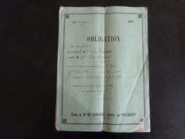 """Acte Notarié Du 12 Janvier 1874 """" Obligation """" Notaire Verneuil Au Pouliguen - Vieux Papiers"""