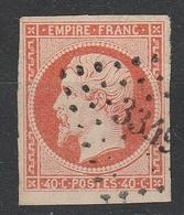 Yv 16 Orange Vif,  Larges Marges, PC 3349 THIONVILLE, Magnifique! - 1853-1860 Napoleon III