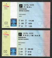 Espagne Barcelone 92 Jeux Olympiques 2 Billet Finale Et Preliminaire Athletisme Barcelona Athletics Final + Pre 2 Ticket - Habillement, Souvenirs & Autres