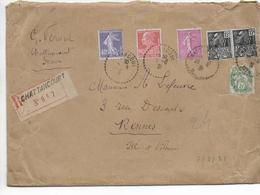 1931 - ENVELOPPE GF RECOMMANDEE De CHATTANCOURT (MEUSE) => RENNES - SEMEUSE + BLANC + BERTHELOT + EXPO 31 - 1921-1960: Période Moderne