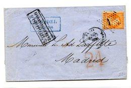 France N°23 Sur Lettre Pour Madrid - Etoile 1 - Taxe Espagnole 24 - Affranchissement Insuffisant - (B1276) - 1849-1876: Periodo Clásico