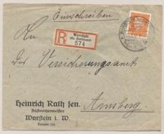 Deutsches Reich - 1931 - 45pf Friedrich Ebert On R-cover From Warstein (Sonderstempel) To Arnsberg - Allemagne