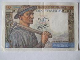 BILLET 10F 15 OCTOBRE 1942 SERIE U.12 N° 22043 - 1871-1952 Anciens Francs Circulés Au XXème