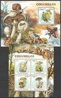 Y291 2011 GUINE GUINEA-BISSAU FLORA NATURE MUSHROOMS COGUMELOS 1BL+1KB MNH - Mushrooms