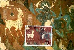 CHINE. N°2828 & 2830 De 1987 Sur 2 Cartes Maximum. Fresques Bouddhiques. - Bouddhisme