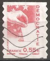 France Oblitéré  2008  Autoadhésif N° 176  Ou N° 4198   Democratie  0.55 € Rouge  Décalé Sur La Gauche - France