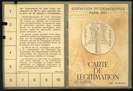 FRANCE PARIS EXPOSITION Carte De Legitimation 1937 - Vieux Papiers