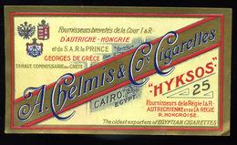 1920. Cca. Hyksos, Litho Cigarettes  Label - Vieux Papiers
