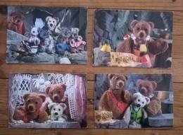 Lot De 4 Cartes Postales / Television / TF1 /les Aventures De Nounours / Dont 2 Cartes Sonores - Enfants