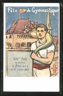 Künstler-AK Motiers, XIV. Fete De Gymnastique 1907, Turner Mit Füllhorn - NE Neuchâtel