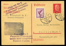 1933 A Dornier Do. X Elmaradt Budapesti Repülésére Feladott Díjkiegészített Díjjegyes Levelezőlap / Postcard Mailed For - Germany