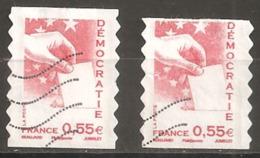 France Oblitéré  2008  Autoadhésif N° 176  Ou N° 4198   Democratie  0.55 € Rouge  Un Grand Et Un Plus Petit - France