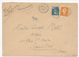 1945 - ENVELOPPE GF RECOMMANDEE PROVISOIRE De NANCY (MEURTHE ET MOSELLE) => SAINT DIE DES VOSGES - DULAC + GANDON - 1921-1960: Période Moderne