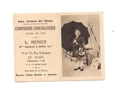 PETIT CALENDRIER 1939 -CONFISERIE CHOCOLATERIE MENIER - LE MANS - PETITE FILLE PARAPLUIE - - Petit Format : 1921-40