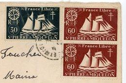 ST PIERRE ET MIQUELON ENV 194? ST PIERRE LETTRE + CENSURE AMERICAINE LETTRE => FRANCE - St.Pierre & Miquelon