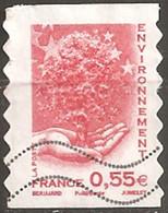 France Oblitéré  2008  Autoadhésif  N° 177 Ou N° 4199   Environnement   0.55 € Rouge Décalé à Droite - France