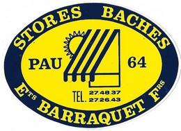 Autocollant - STORES - BACHES - Ets BARRAQUET Frs - PAU (64) -  9,5 X 8,5 Cm - - Stickers