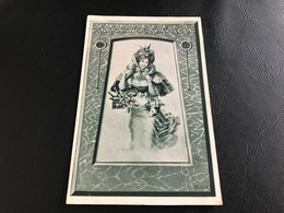 Femme élégante Au Pagnier De Bouteilles - 1907 Timbrée - Silhouettes