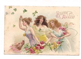 BELLE CPA GAUFFREE 3 JEUNES FEMMES ELEGANTES - COCHON - Bonne Année - Trèfle - - Femmes