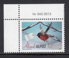 Aland 2015 MNH Christmas Bird Carrying Tag - Numbered Margin Copy - Aland