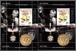 BULGARIA 2018 NELSON MANDELA 100 Years Of HIS BIRTH TWO MNH SOUVENIR SHEETS - Bulgarije