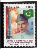 Turkmenistan. 2001 Quaid-E-Azam Year 2001 (J.w Pakistan). 1v : 500m   Michel # 153 - Turkménistan